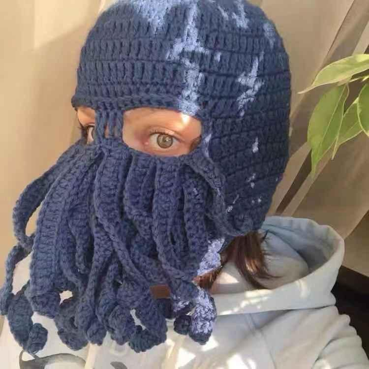 Christmas funny personality masked Octopus cap men and women net red funny headgear knitting wool beard Hat Photo trend
