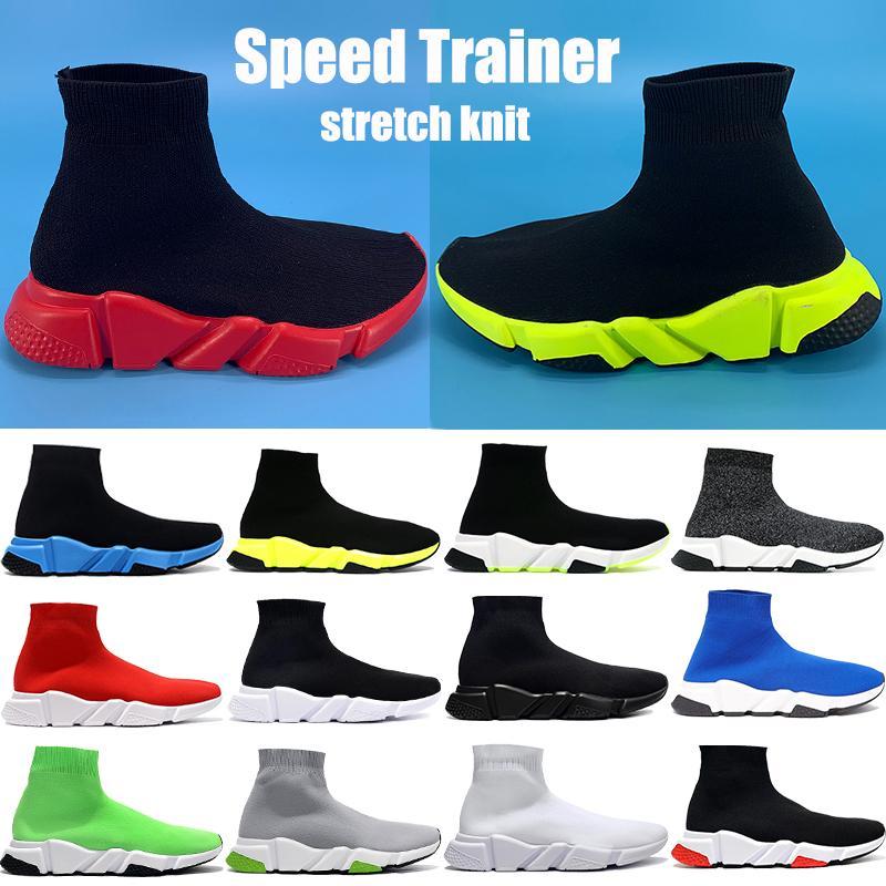 Las nuevas mujeres de la moda Speed Trainer calcetín negro de zapatos ocasionales universidad verde rojo hombre voltio alta oreo tramo de punto zapatillas de deporte