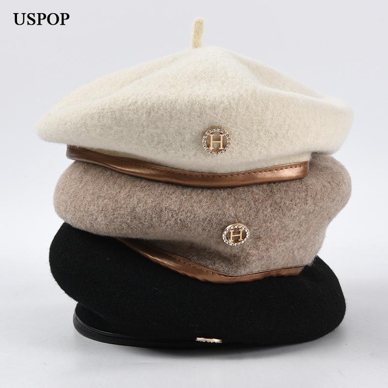 USPOP 2020 New chapeaux chaud laine de diamant chapeau béret hiver féminin lettre H Béret