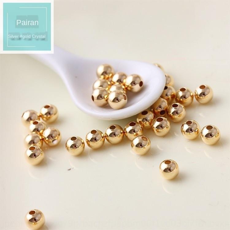 JsZiy cor Garantido contas de ouro 14k solta pequenas redondas Crystal Jade material de pérola pulseira DIY acessórios Pulseira contas de jóias diy