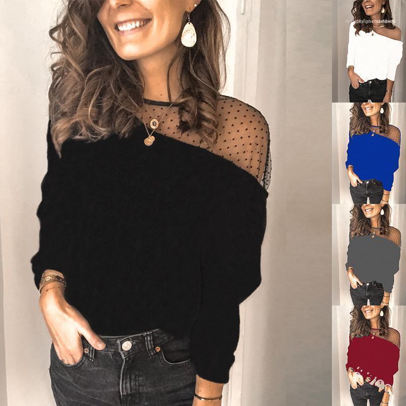 Vêtements femmes Designer T-shirt à manches longues Mode lambrissé Slim Brife dentelle Chemisier Tops Solide Couleur Femme