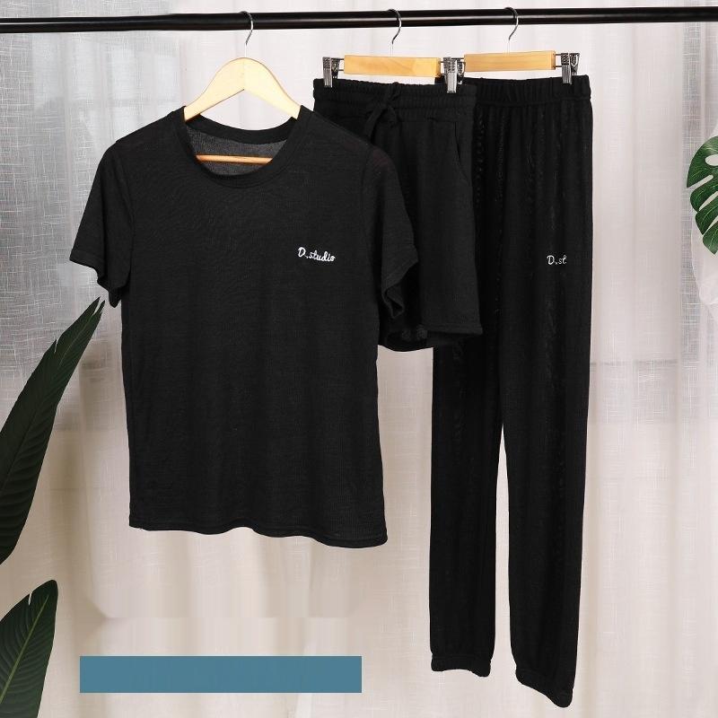 Peri ev pantolon üç parçalı çevrimiçi kız seti popüler bahar ve yaz ince takım elbise bahar ve yaz tembel gevşek ev ev pijama p