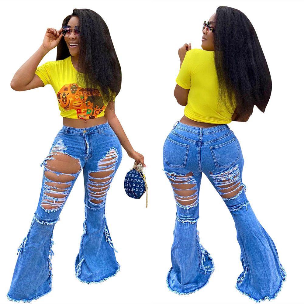 Женщины Осенние платья и зима Персонализированные передние задние отверстия Джинсовая одежда Plus Размер для женских расклешенных штанов S-4XL
