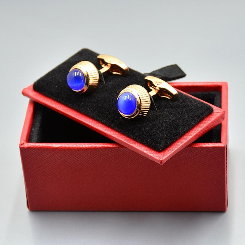 Luxury Frenchy Man Cufflinks For Men Shirt Cufflink with Cartr Branding Blue Gem Top Copper Cuff Buttons As Wedding Wear Jewelry Cuff links