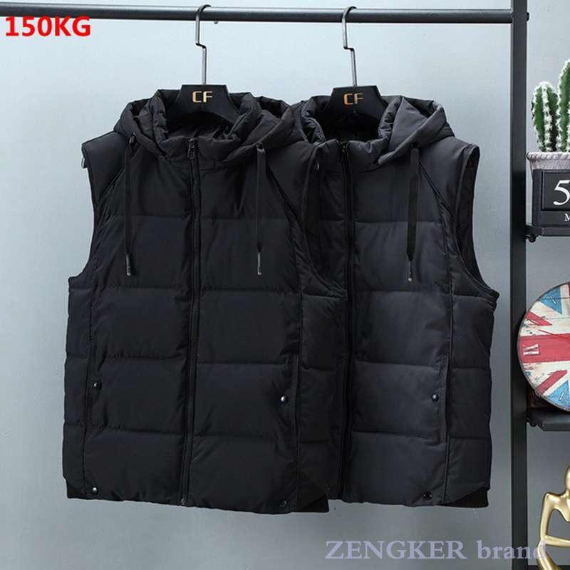 남성의 초대형면 조끼 가을 겨울 새로운면 남성 의류 스트리트 조끼 분리형 캡 킵 따뜻한 양복 조끼