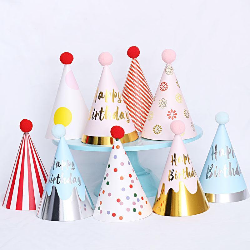 Stili multipli 1 2 3 anni Compleanno Baby Shower decorativo fascia dei bambini del partito Corona Hat Blue Gold