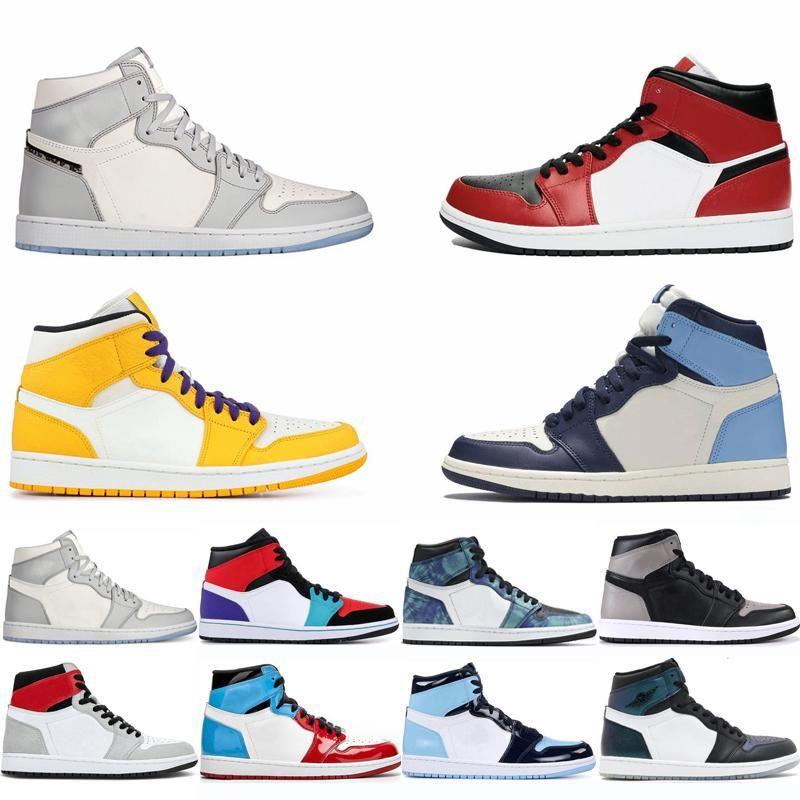 Zapatos de baloncesto de Jumpman 1 Luz de humo Zapatos Rojo Azul Gris Deportes Obsidiana Travis Chicago sin miedo las zapatillas de deporte de los hombres con la caja tablero trasero Formadores