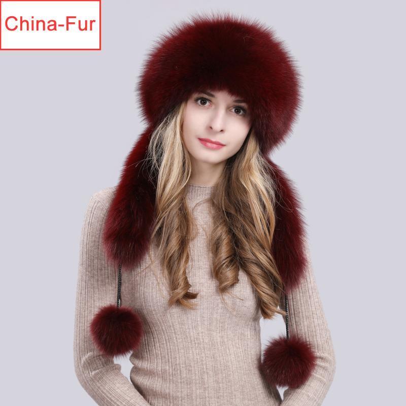 Russische Frauen realer Pelz-Bomber Hüte Dame Winter Warm Luxus 100% natürliche Pelzmütze Fashion Fluffy FurRex Caps
