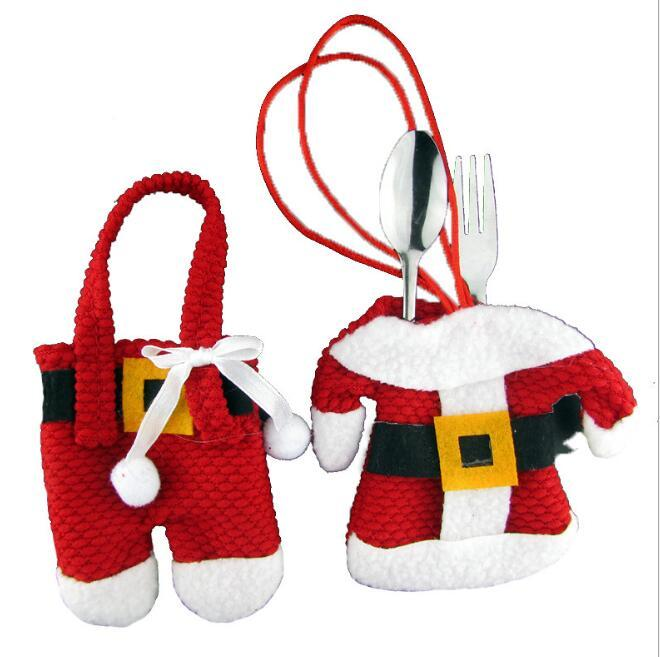 Noel Süslemeleri Çatal Çanta Otel Restoran Masa Süslemeleri Çatal Seti Hediye Çantası Noel Küçük Giysileri Pantolon Çanta FFA4416
