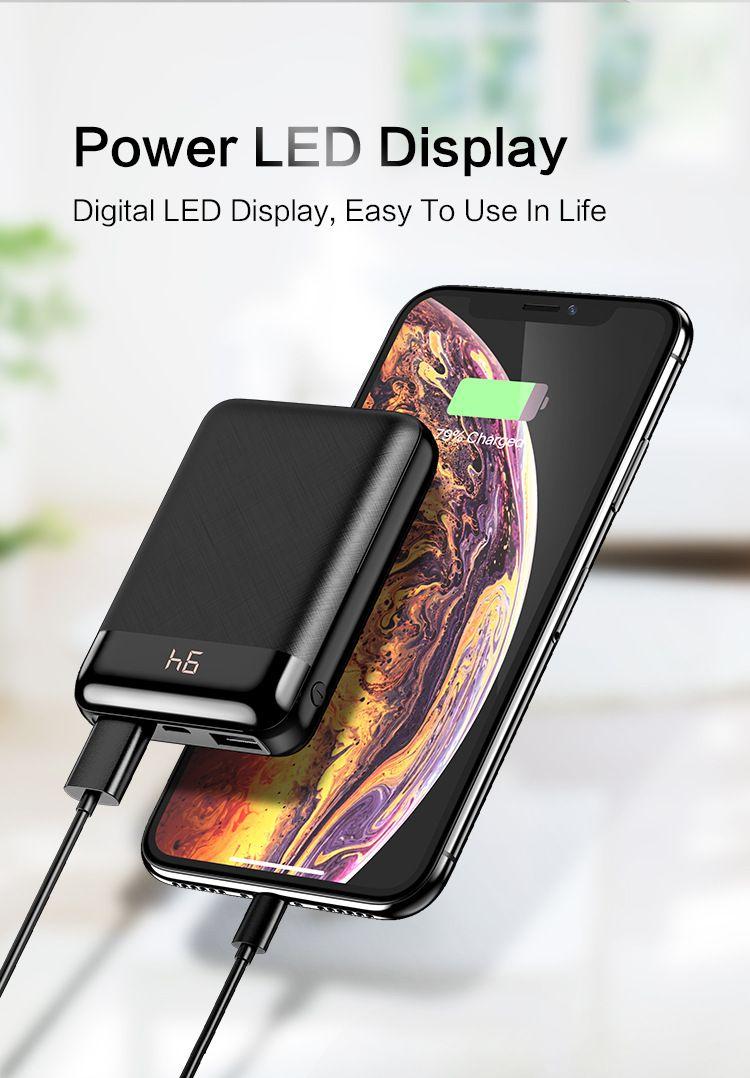 전원 은행 Xiaomi Mi PowerBanks 용 10000mAh PowerBank 외장형 배터리 모바일 휴대용 충전기 LED Poverbank