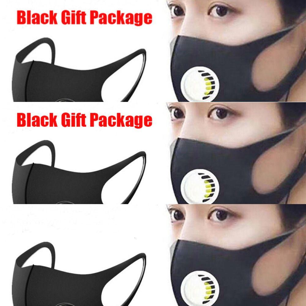 Máscara boca Ice lavável com face da válvula PM2.5 Respirar pacote de presente preta Anti poeira respirador Dustproof Anti-bacteriana reutilizável Silk