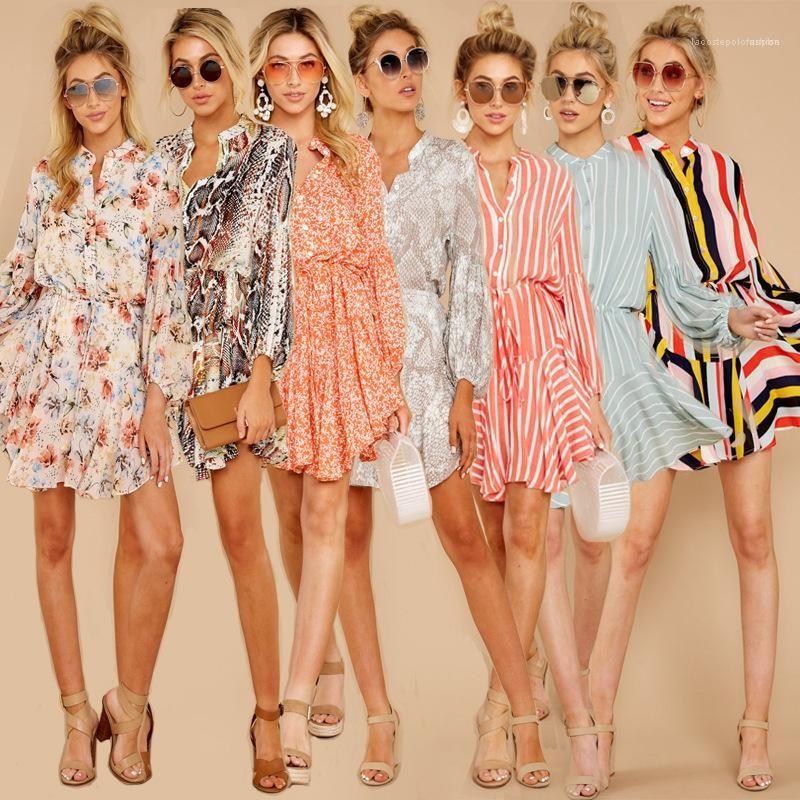 Designer Famale Kleid-Frauen Multi Style gedrucktes Kleid beiläufigen Taille-Rundhalsausschnitt Langarm Unregelmäßige Bekleidung Sommer
