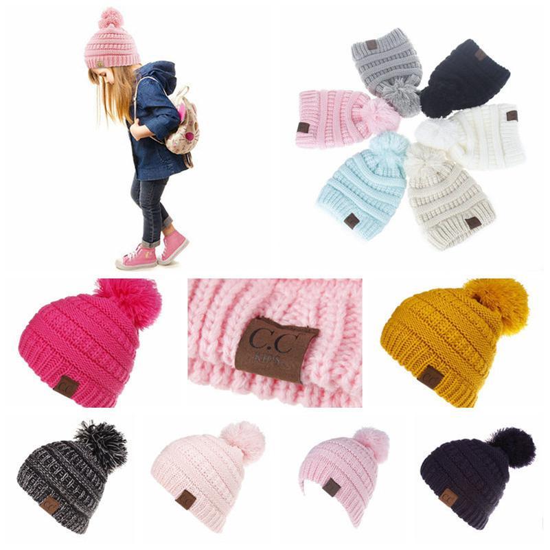 11 Cores CC na moda Beanie CC Malha Chapéus crianças Chunky crânio Caps Cabo Inverno malha Slouchy Crochet Chapéus Moda exterior Chapéus 100pcs