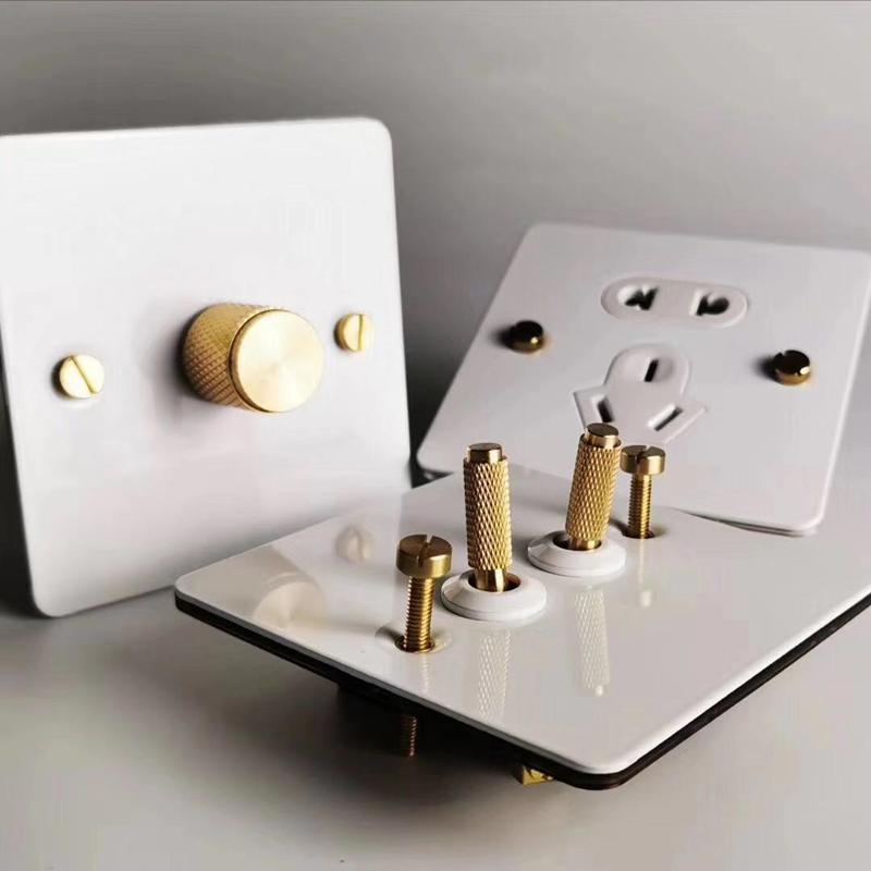 Белый цвет 1 банда / 2 банды / 3 Настенный выключатель и 2 способа из нержавеющей стали панель Выключатель света с золотым цветом тумблером