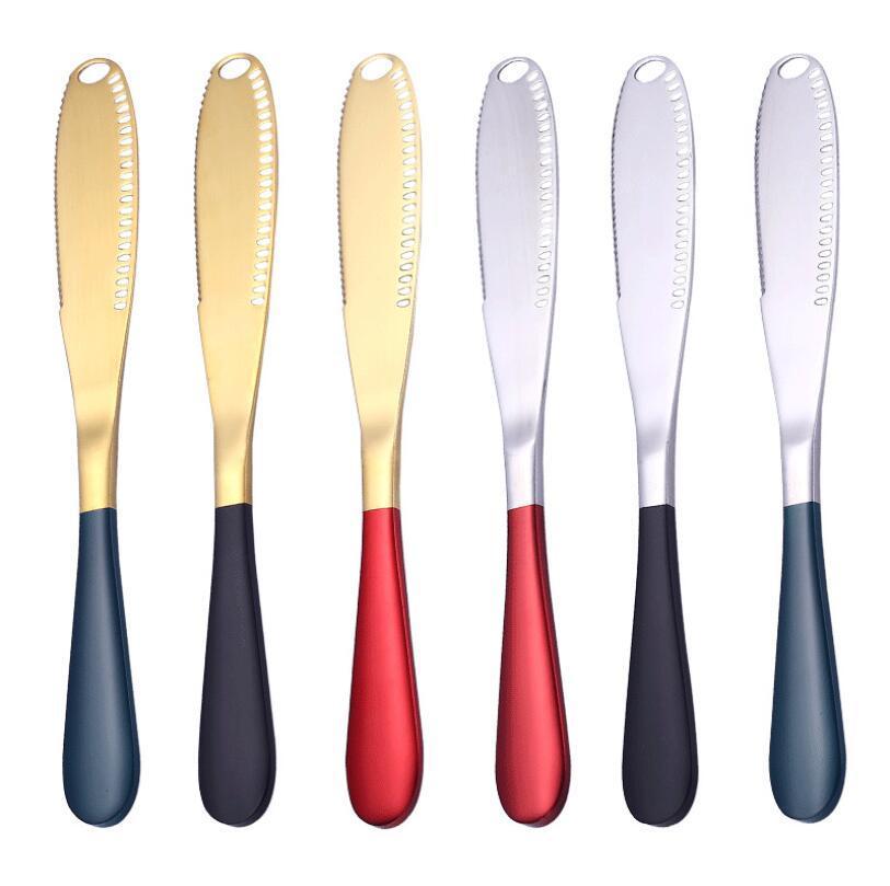 الفولاذ المقاوم للصدأ سكين الزبدة مع هول خبز كعكة المربى سكين ملون خبز الجبن كريم السكاكين نقابة المحامين الرئيسية مطبخ أطباق أداة LSK1359