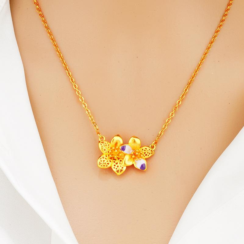 24K Gold color necklaces for women double flower Interphase enamel Pendant clavicle chain jewelry Fashion bauhinia Choker gifts