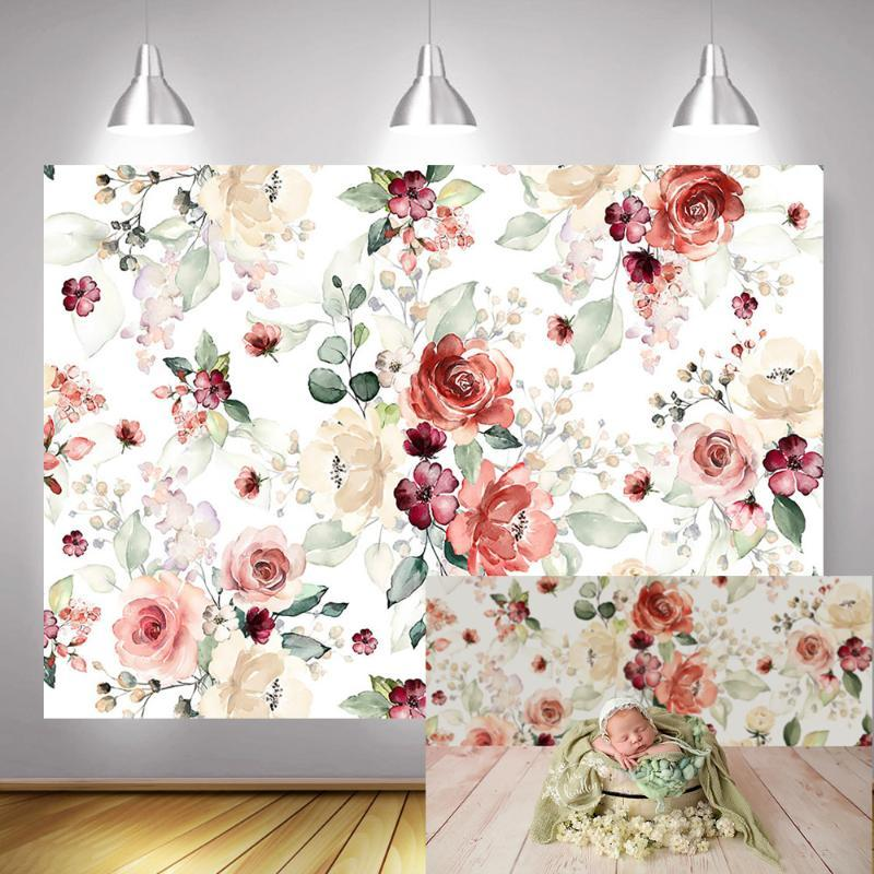Floral Newborn Kids Portrait Photography Backdrop for Photo Studio Watercolor Flowers Baby Shower Background Rose Photocall Prop