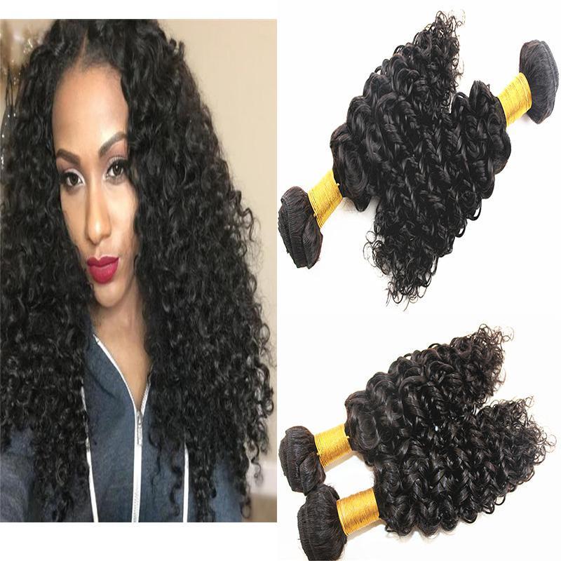 A Dilys Human Hair Extensions Jerry Curly naturel Couleur 100 g / Bundles Cheveux brésiliens péruviens Tissages cheveux humains de Mongolie 8 à l'état brut