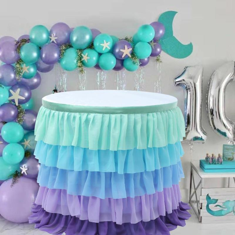 Wedding Banquet Decor Table Skirt 5 Layer Rectangle Round Tulle Table Cloth Kids Birthday Party Scene Decorate Tutu Skirts