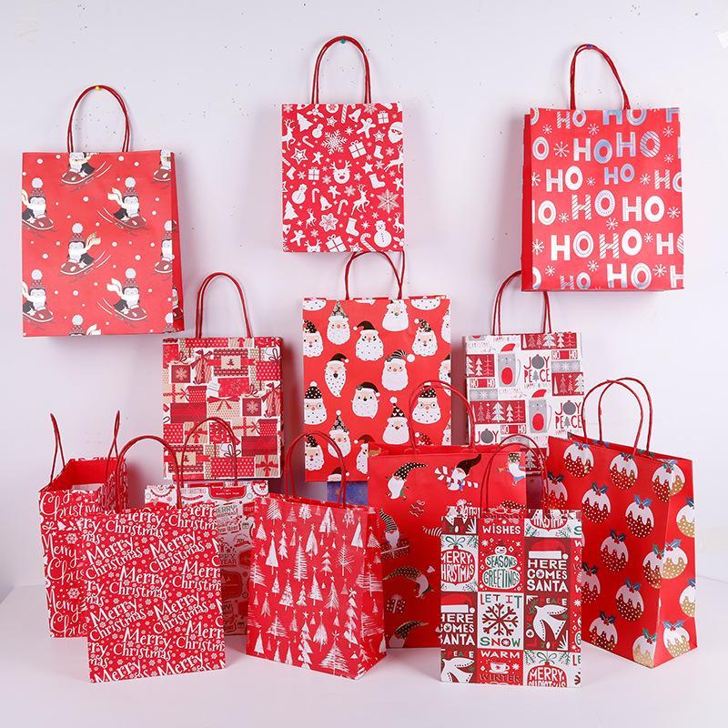 Noël Papier Kraft Sacs cadeau avec poignée pour la nourriture Cookies Emballage Sac Candy Bag Party Supplies événement
