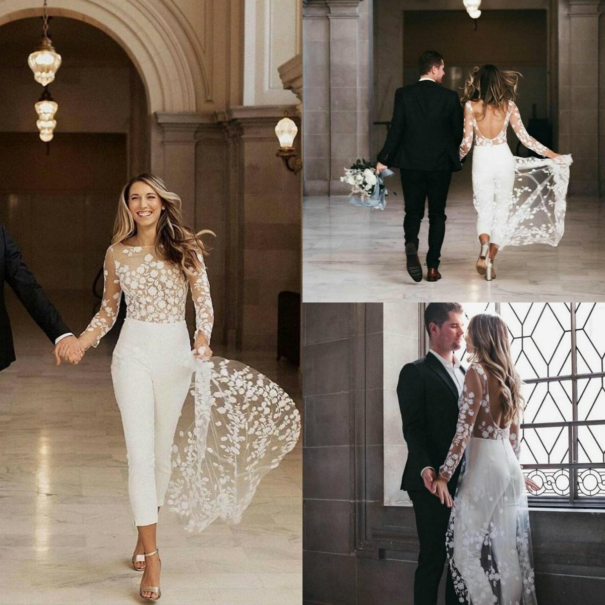 Jumpsuit 2021 Beach Boho Wedding Dresses Jewel Neck Long Sleeve Backless Ankle Length Bridal Outfit Lace Summer Wedding Gowns