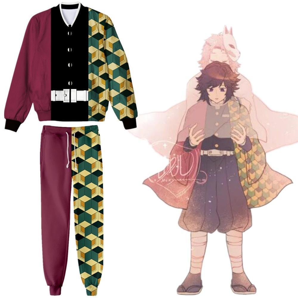 Anime Demon Slayer Kimetsu Yok Yaiba Tomioka Giyuu Cosplay Kostüm Uzun Kollu Ceket Ceket Hoodie Spor Tam Set