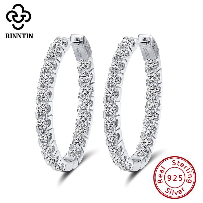 Rinntin Genuine 925 Sterling Silver 35 millimetri orecchini a cerchio per le donne forma ovale Orecchini Argento dell'orecchio dei monili regalo TSE223