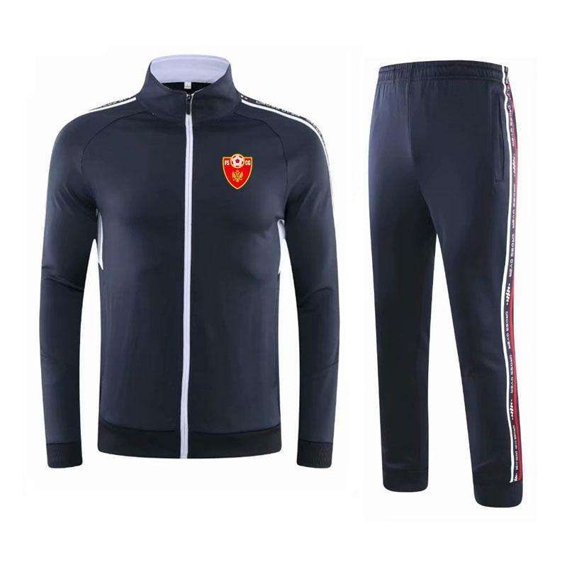 Montenegro 2020-21 outono e inverno terno novo treino de futebol dos homens longa jaqueta esportiva casual wear terno treinamento de corrida dos homens terno