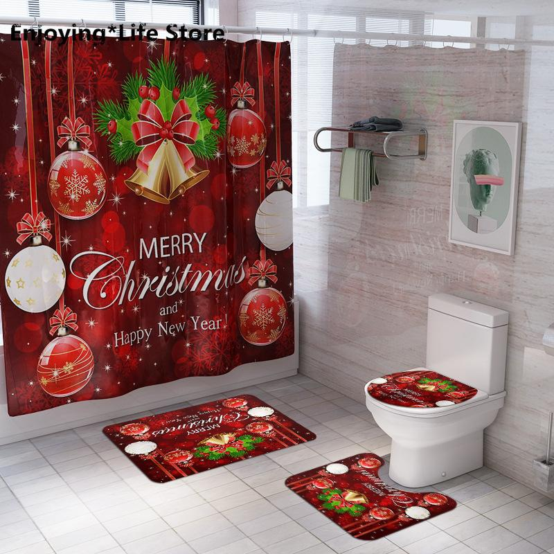 Рождество Душ занавес Туалет Mat из четырех чехлов Покрытия коврика для ванной впитывающей подушечка Набор для ванной комнаты
