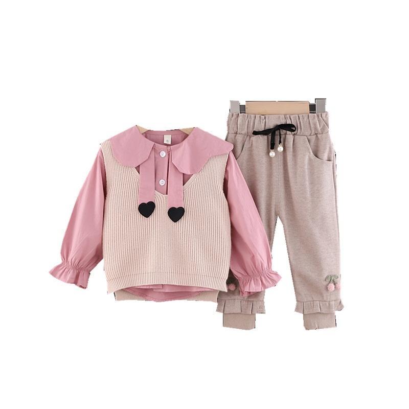 الخريف ملابس الأطفال ملابس موضة فتاة جميلة الصدرية التي شيرت السراويل مل 3pcs / مجموعات الربيع طفل رياضية عارضة الرضع الزي