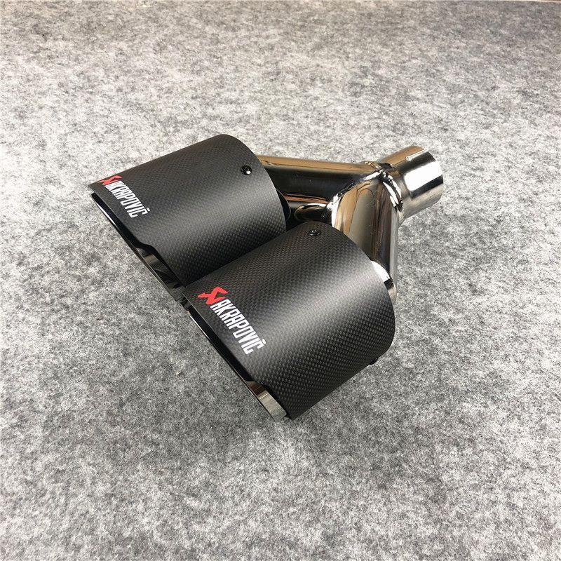 قطعة واحدة منفذ 89MM Y نموذج Akrapovic العادم الأنابيب نهاية ل ألياف الكربون العالمي ألياف أنابيب المزدوجة كاتم الصوت