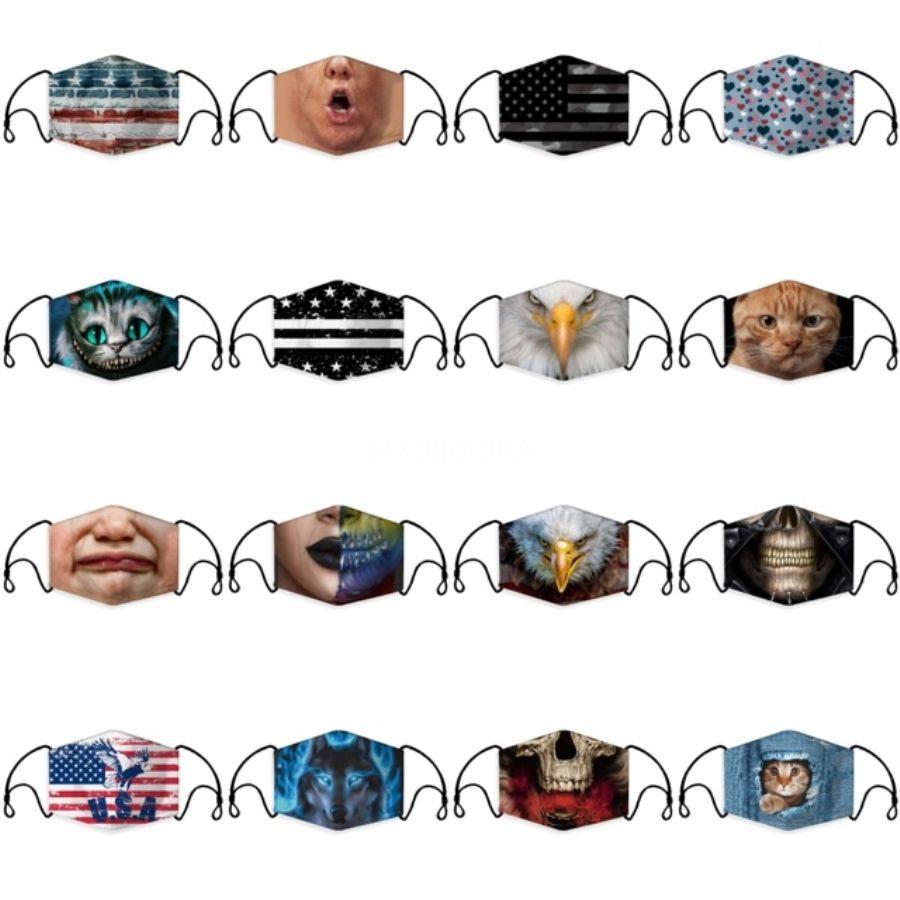 Moda Karikatür Maskeler Yıkanabilir 3D Baskılı Tasarımcı Pamuk Ağız Maskeleri PM2.5 toz geçirmez Ve smong Yüz Koruyucu # 666 Maskesi