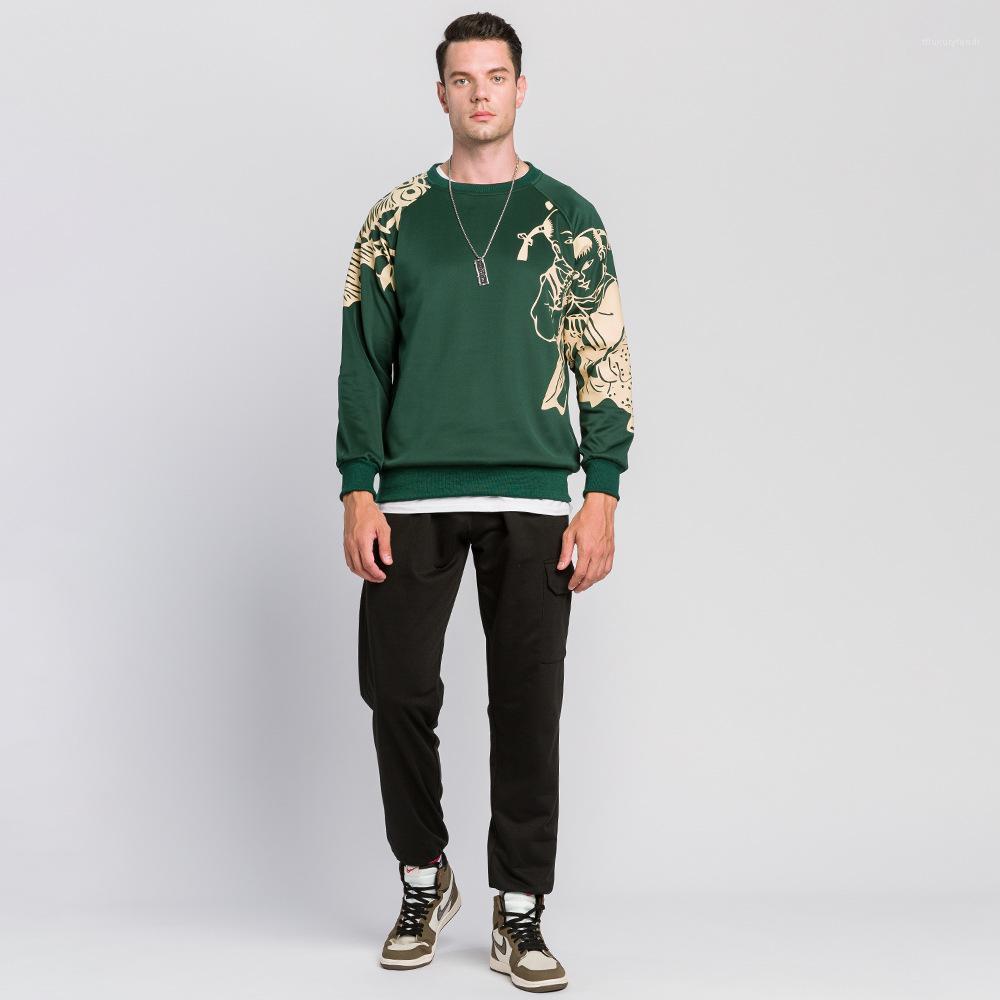 Шея Толстовка Homme Скейтборд Одежда мужская Сыпучие Пуловер толстовки китайский стиль с длинным рукавом Экипаж