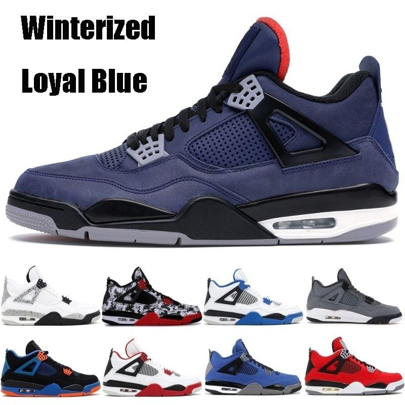 Schuhe Was die Jumpman 4 4s Mens Basketball Winterized Loyal Blau Cool Gray Bred Fiba Hot Punch-Donner-Fire Red Stylist Turnschuhe 40-47