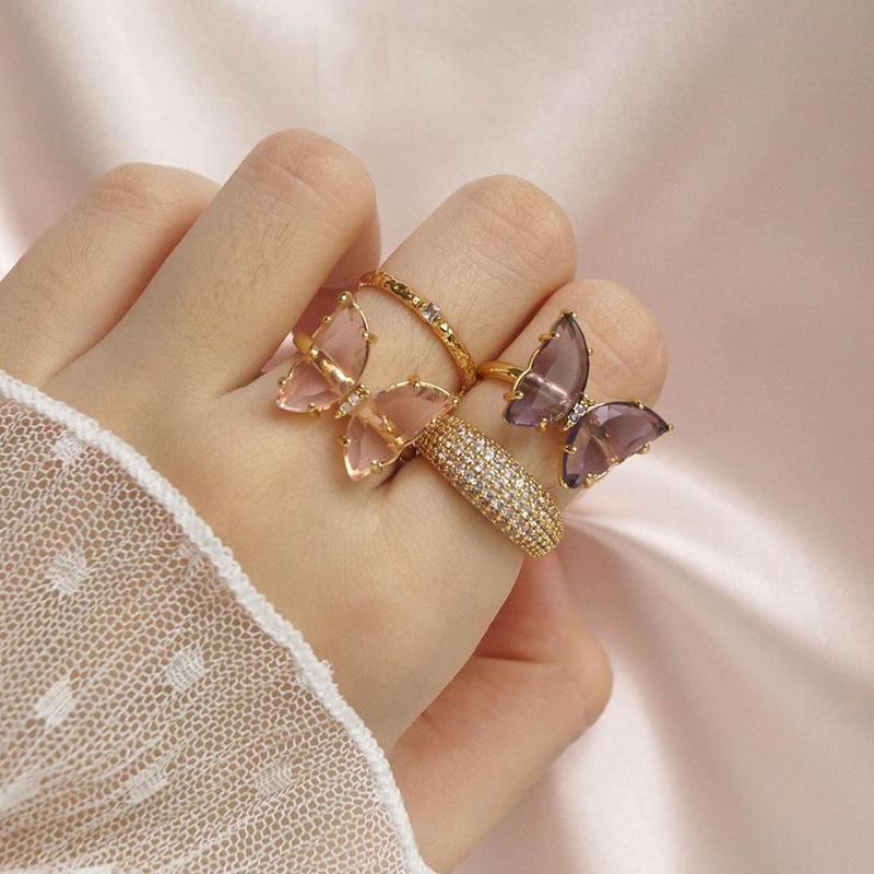 Обручальные кольца 2021 Симпатичные прозрачные кристаллические бабочки регулируемые красочные акриловые горный хрусталь открытое кольцо для женщин девушки сладкие украшения