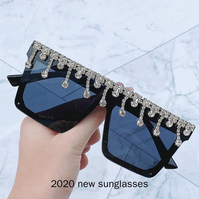 Gran tamaño del vintage del cuadrado del diamante gafas de sol de las mujeres diseñador de los hombres a prueba de viento de los anteojos Gafas de sol Mujer Gafas NX