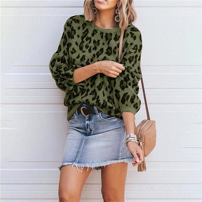 Designerkleidung für Frauen Leopard Lantern Sleeve Pullover Frau Herbst-Winter-O-Ansatz OL lose Strickjacke-Frauen-Mode