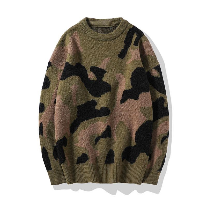 2020 Nueva otoño Invierno Algodón punto de los hombres Jumper informal con capucha de los hombres Prendas de punto caliente grueso para hombre del camuflaje del estilo Jerseys y jalar