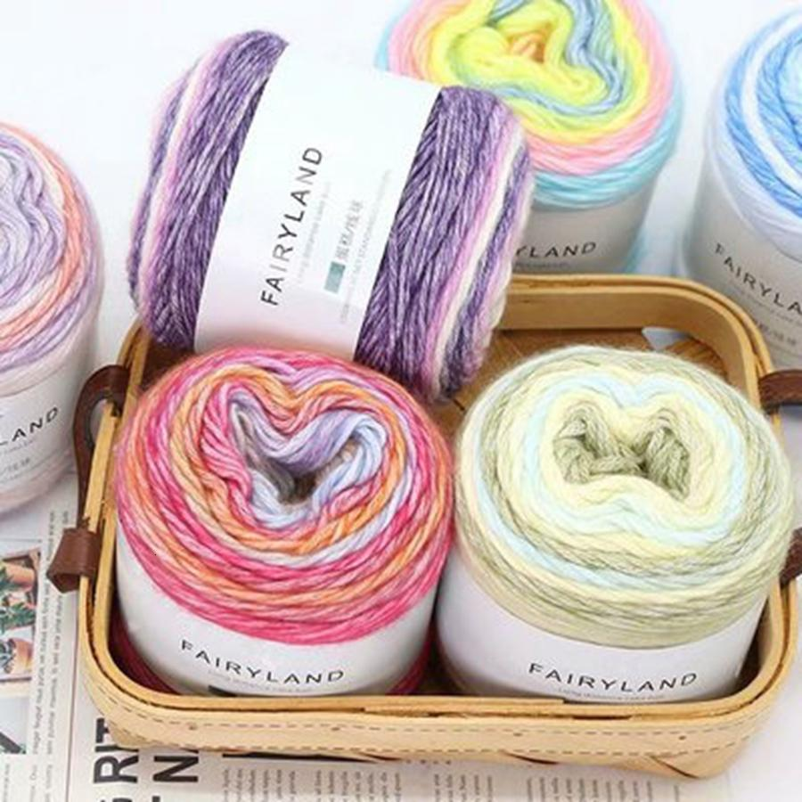 100g Rainbow Color Hand-woven Cotton Yarn 15 Colors for Choice Soft Crochet Thick Yarn For Hand Knitting Warm Sweater   Scarf