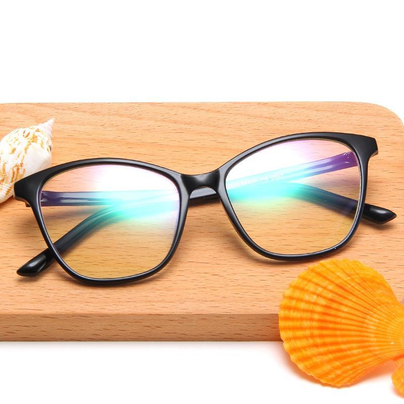 2020 ojo de gato elegante del marco de los vidrios de las mujeres de los hombres óptico marcos de espectáculo retro de gran tamaño de la lente transparente llano Gafas