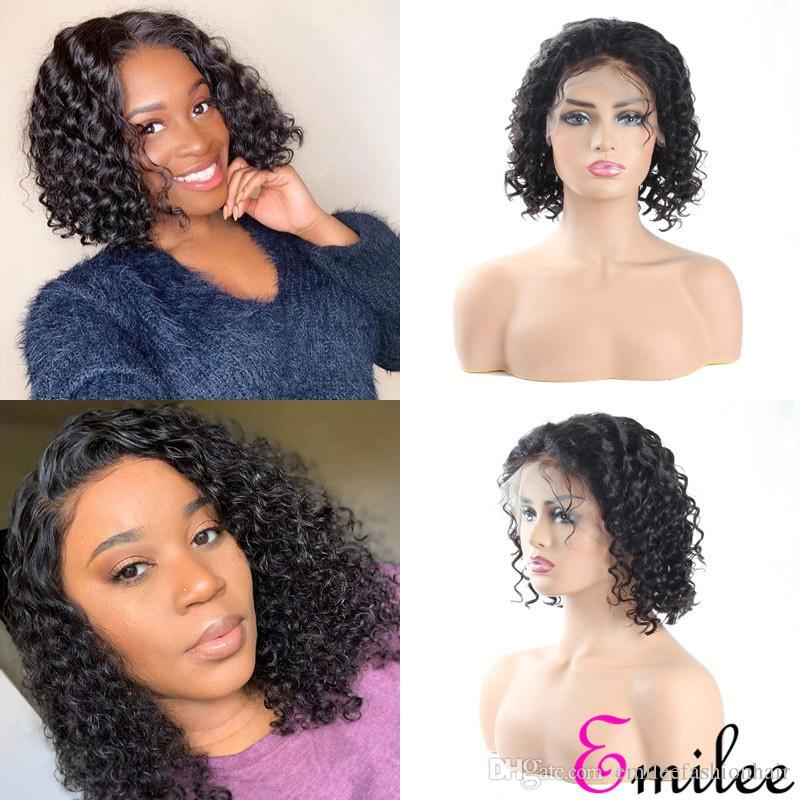 Las pelucas de pelo profundo del pelo humano de Remy emilee BOB pelucas de pelo peruano onda corta Bob peluca Pre desplumados rayita La mitad de encaje de 10 pulgadas