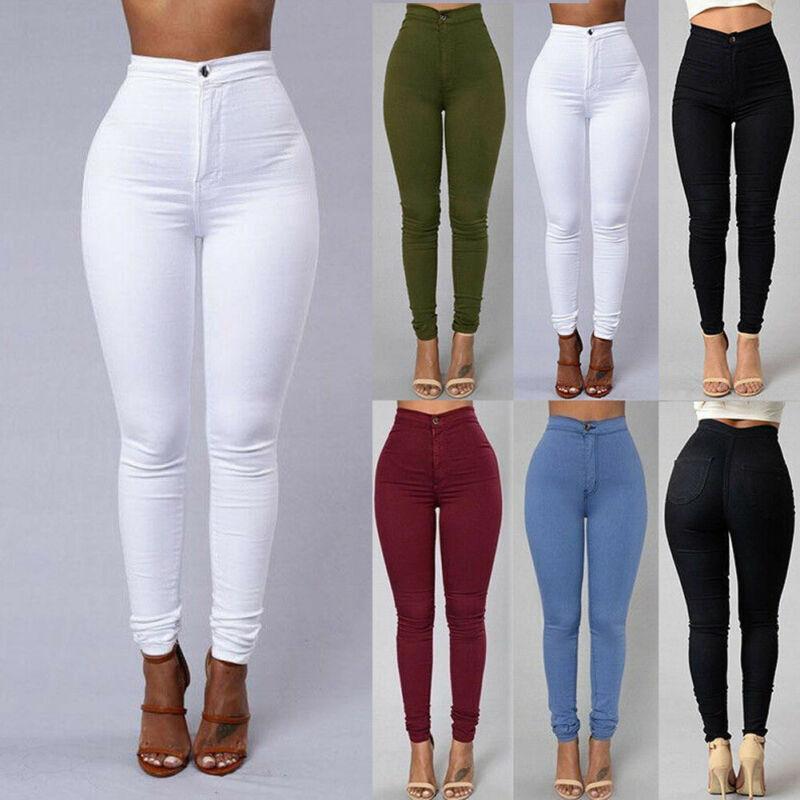 Hirigin Женщины высокой талией Stretch Джинсовые брюки Брюки Джинсы Тощий Rose Твердая Повседневный карандаш брюки осень Плюс Размер S-3XL