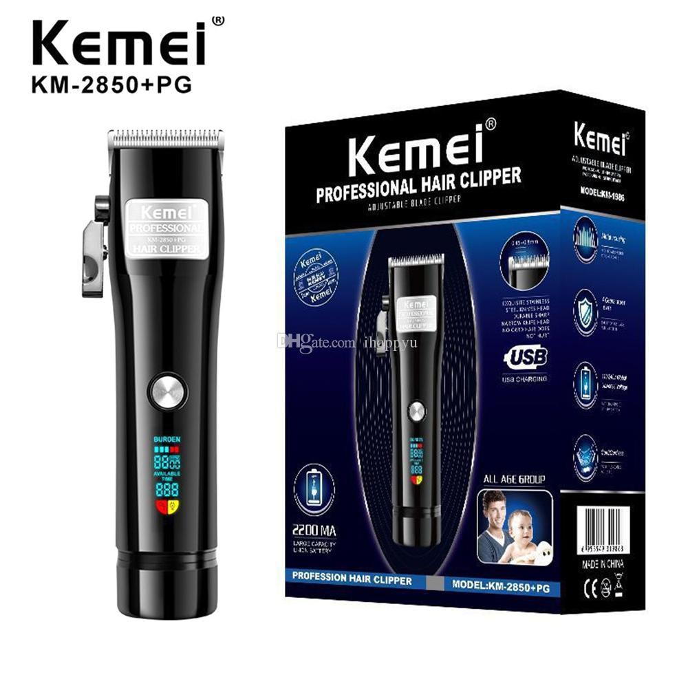 Máquina de corte de cabelo DHL Kemei KM-2850 + PG Profissional Elétrica Trimmer Beard Shaver 100-240V Rechargeable Hair Clipper Titanium faca cabelo