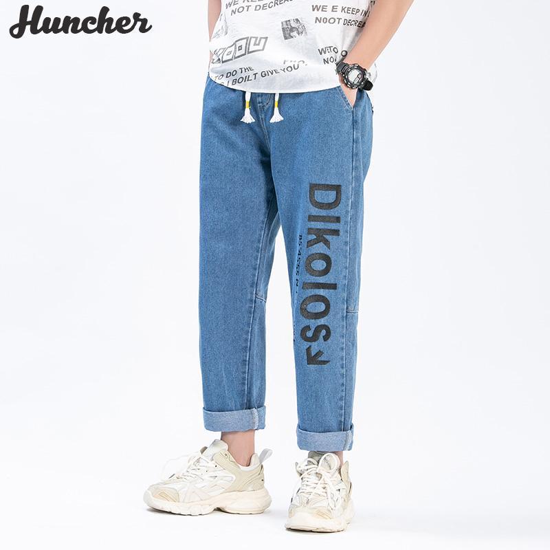 Huncher мужские джинсы 2020 Hip Hop моды Корейский Streetwear Багги печати голеностопного Длина джинсовые Wide Leg Брюки Vintage Jean Для мужчин