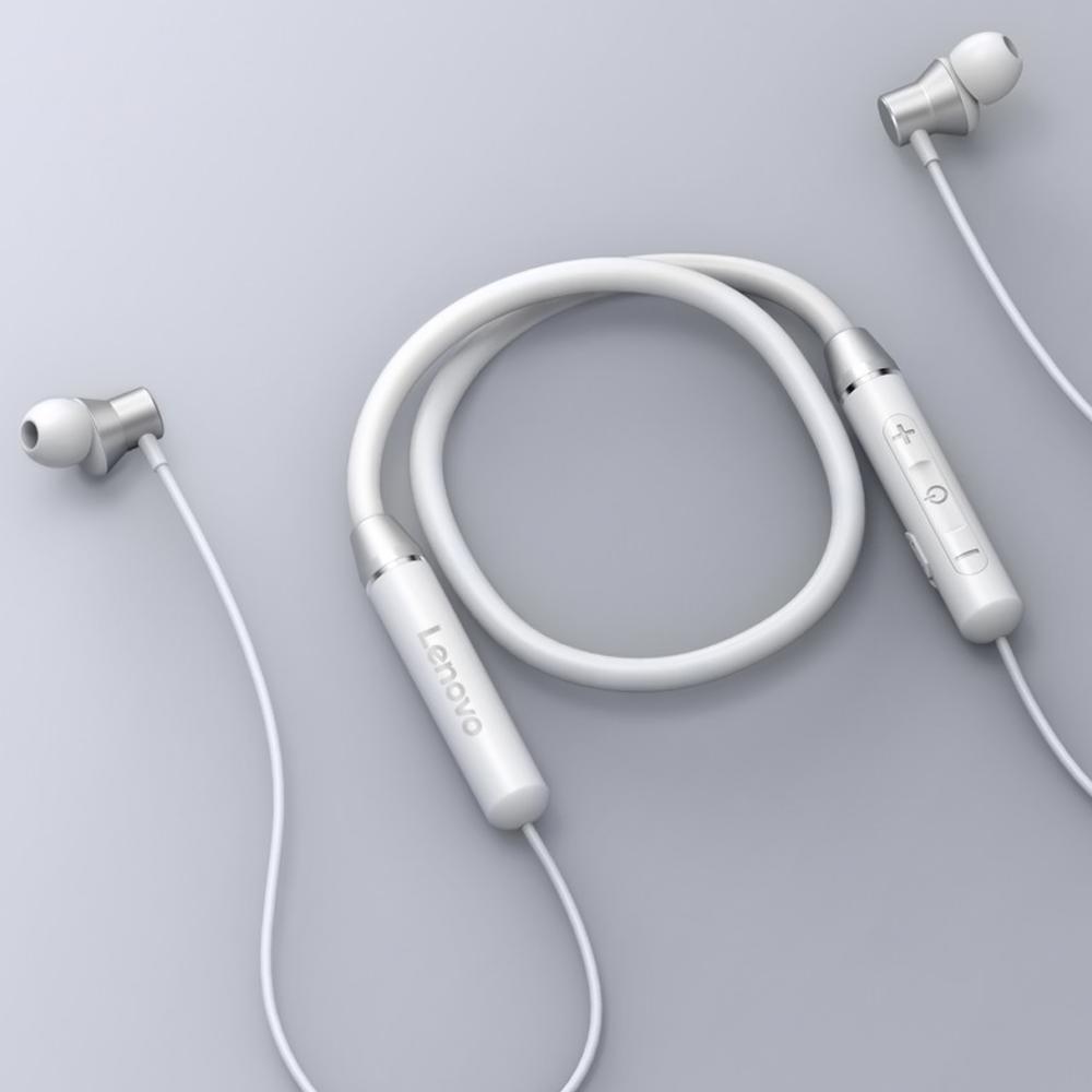 잡음 제거 마이크가 장착 된 레노버 무선 이어폰 블루투스 5.0 자기 넥 밴드 헤드폰 IPX5 방수 스포츠 헤드셋