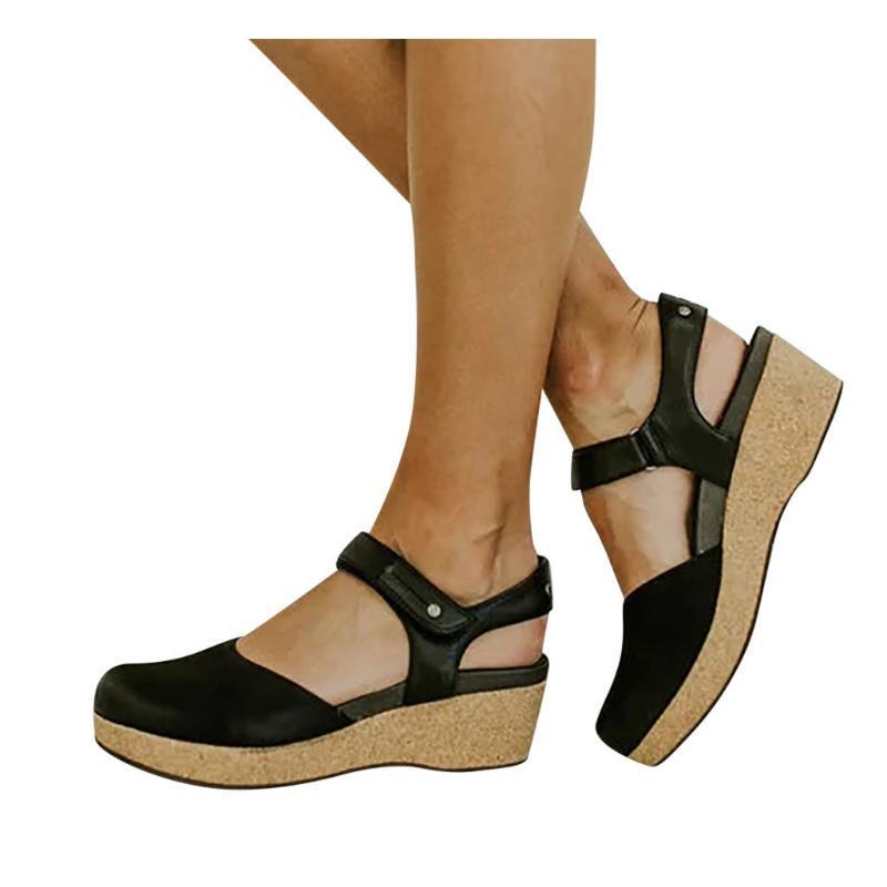 Sagace Sommer-Sandelholz-Frauen-Schuh-Wölbungs-Bügel-Keil-runde Zehe Thick Boden Sandalen Rom weibliche Anti-Rutsch-Schuhe mit Rundspitze