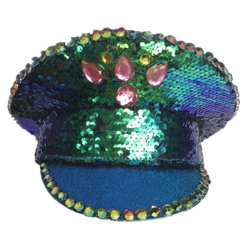 Ball Caps Яркий ломтик Британская крышка спектакля Золотая роза сине-зеленый секвенированный сценический шоу панк-хип-хоп шляпа взрослых мужчин женщин