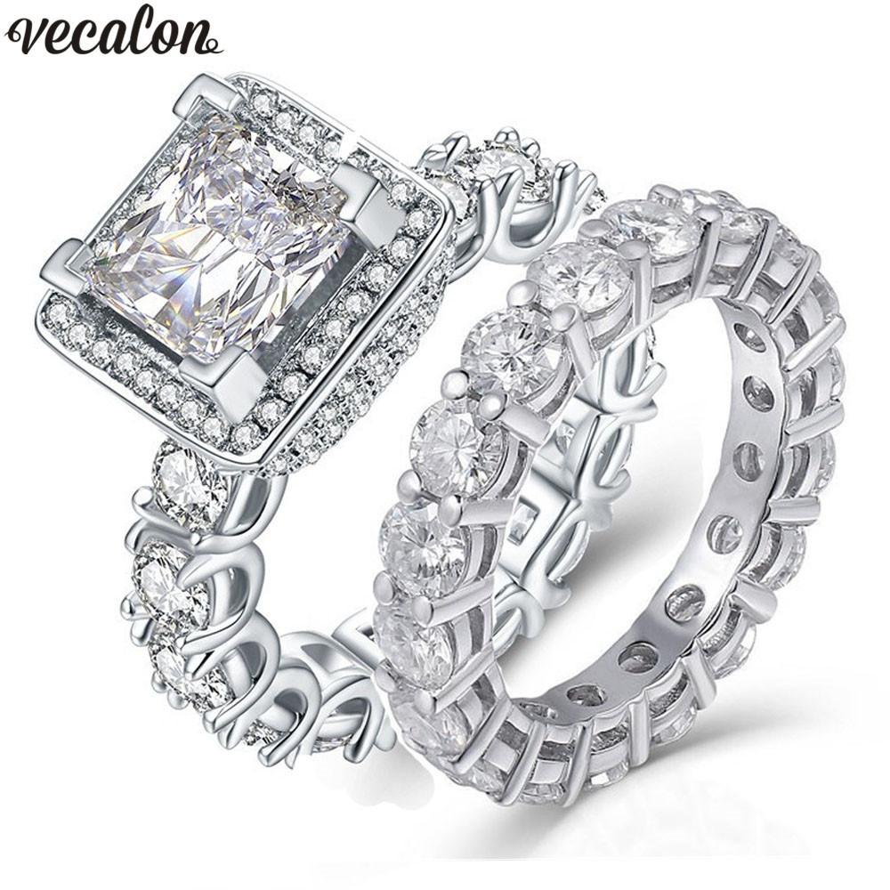 anel Vecalon Promise Vintage define diamantes completa pedra CZ 925 casamento Sterling Silver Engagement anéis da faixa para as mulheres Homens de jóias