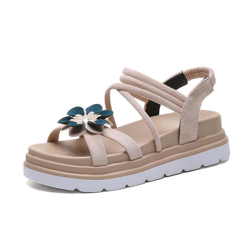 2020 Damenmode-Sommer-Plattform Gummiband Flock Blumen-Sandelholz-Damen-lässig 5cm Wedges Peep Toe Sandalen Größe 35-40