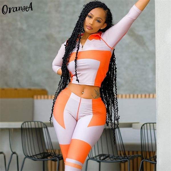 OrangeA Осень 2020 Женщины Tracksuit Фитнес Тощий водолазка Zipper Топы Леггинсы Лоскутная Matching Set Повседневный Эластичный Эпикировка X0923
